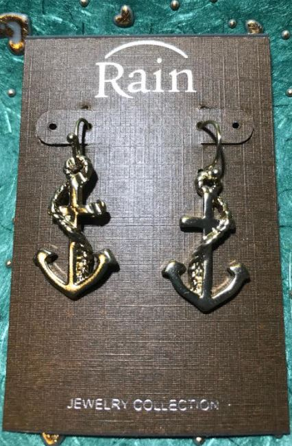 Gold Anchor with Wrapped Rope Earrings