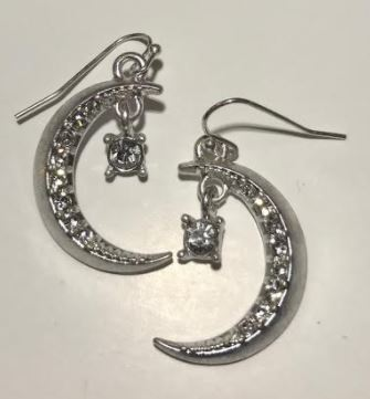 Moon and Star Crystal Earrings