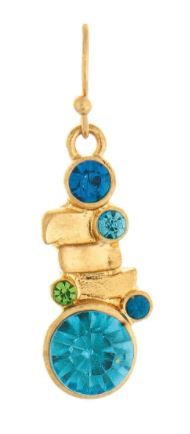 Gold Blue Gem Earrings