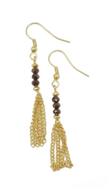 Brown and Gold Fringe Dangle Earrings