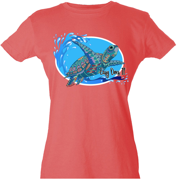 ***NEW*** Easy Does It Turtle Tee (Coral)