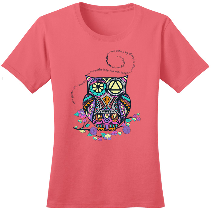 Serenity Prayer Owl - Coral