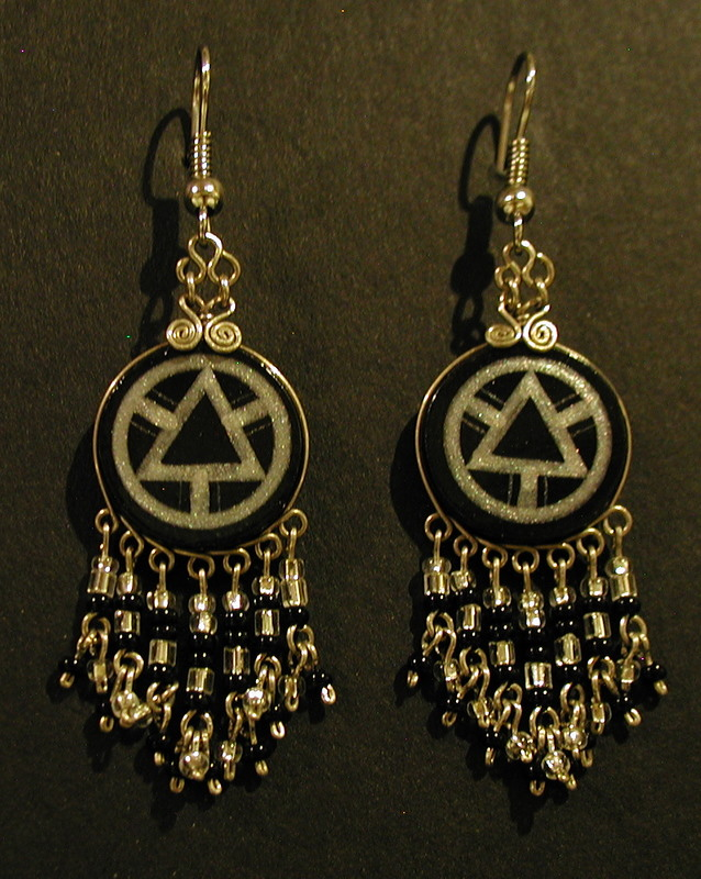 Hand Painted AA Earrings: Black