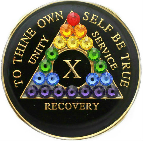 FREE SHIPPING! AA Rainbow Crystallized Tri Plate Medallion