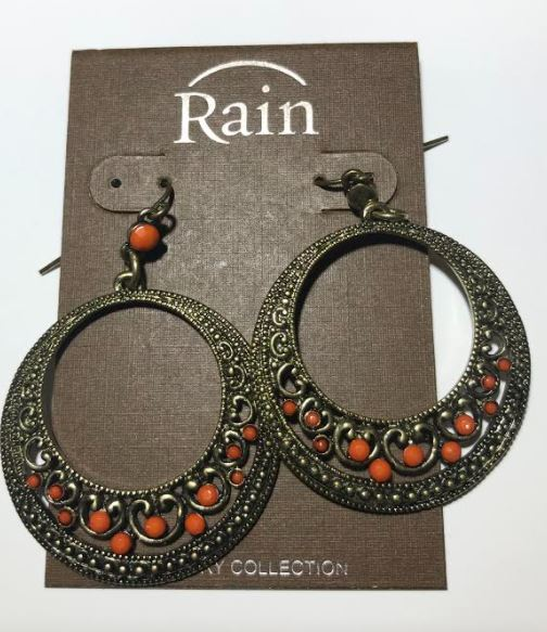 Beaded Hoop Earrings (Orange and Bronze)