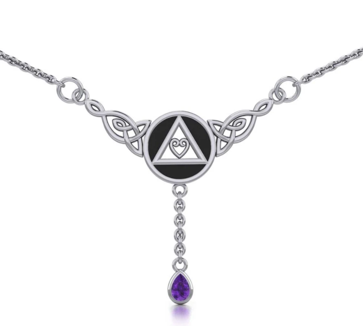 AA Symbol with Amethyst Drop Necklace
