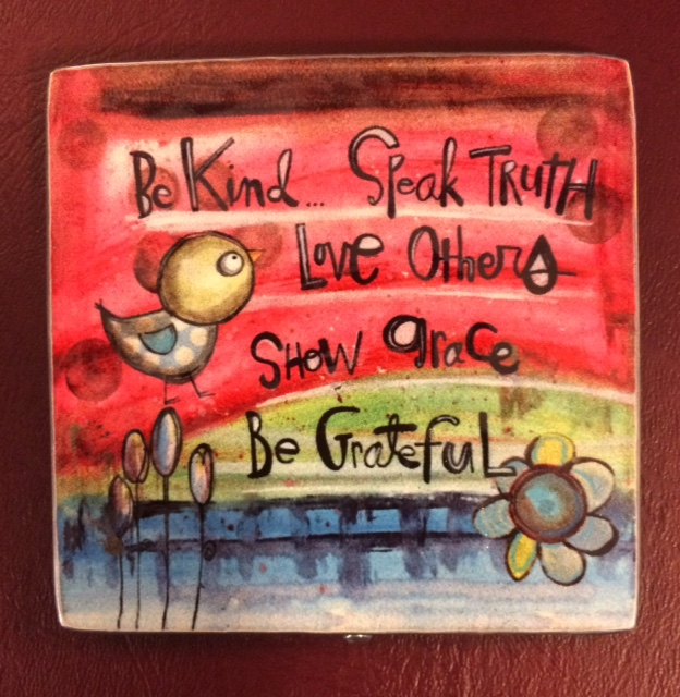 Be Kind Painted Pewter Plaque