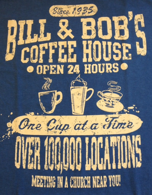 Bill & Bob's Coffee House Tee Blue