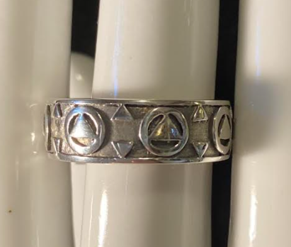 Continuous Sterling Silver Band AA Symbol Ring