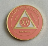 AA Tri Plate Anniversary Medallion Pink & Pearl