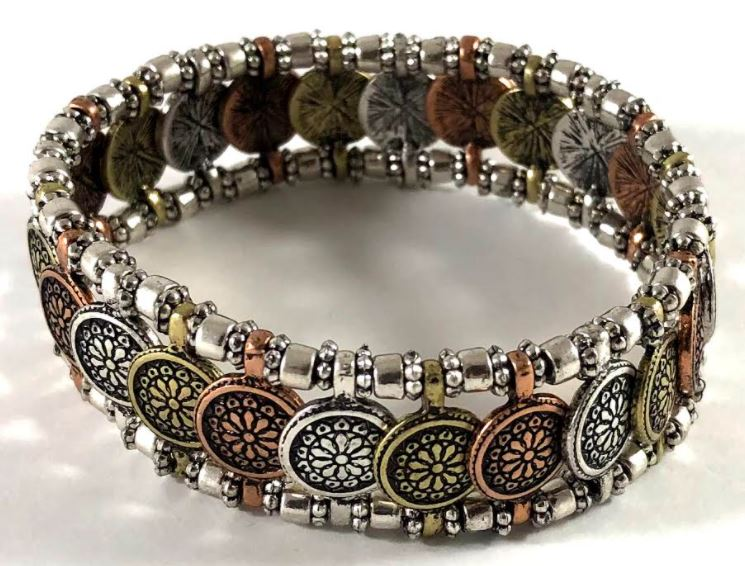 Multi-Metal Flower Stretch Bracelet