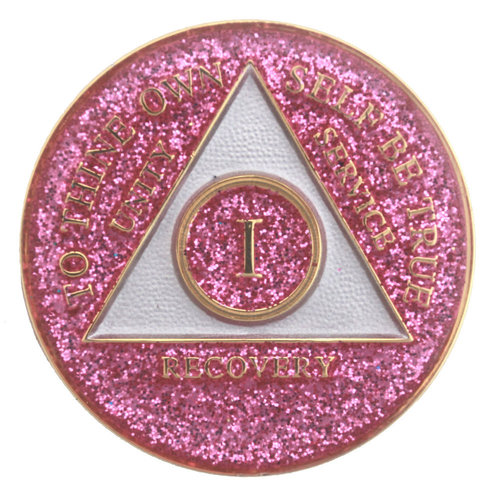 FREE SHIPPING! AA Pink Glitter Tri Plate Medallion