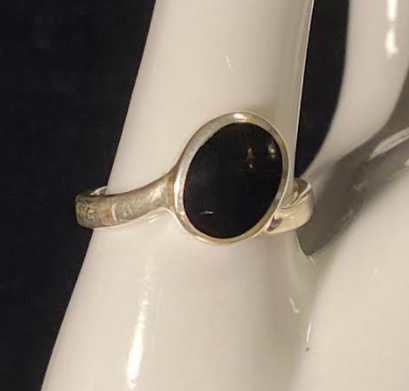 Black Onyx Sterling Oval Ring