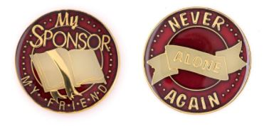 My Sponsor My Friend Tri Plate Medallion (BURGUNDY)