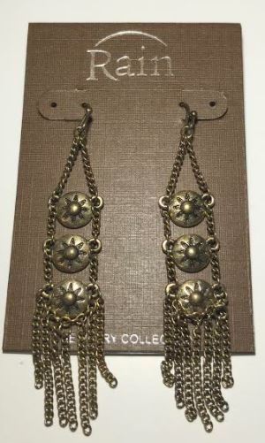 Triple Sun Chain Fringe Earrings